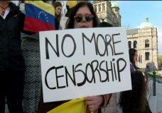 Protest on the steps of the B.C. Legislature over the growing crisis in Venezuela