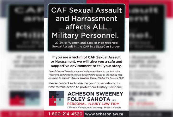CFB Esquimalt newspaper rejects law firm's ad seeking sexual assault victims