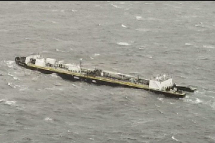 Loose fuel barge near Bella Bella being towed south
