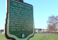 Sign commemorating first flight of Gibson Twin plane unveiled in Victoria
