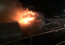 Fire crews battle large structure fire in Chemainus harbour