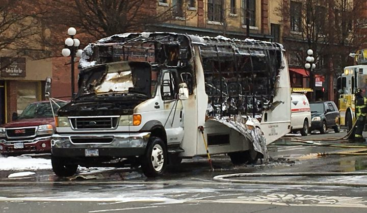 A Wilson Transportation bus after a fire broke out Wednesday morning on Fort and Blanshard Streets.