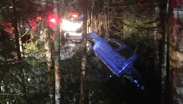A parked blue pick-up went over an embankment after the driver on an Acura slammed into it around 3 a.m. Friday morning in Shawnigan Lake. The male driver of the car and lone occupant was taken to hospital with non-life threatening injuries.