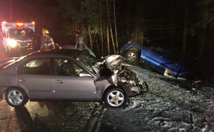 The male driver of an Acura that hit two parked vehicles in Shawnigan Lake was taken to hospital with non-life threatening injuries.