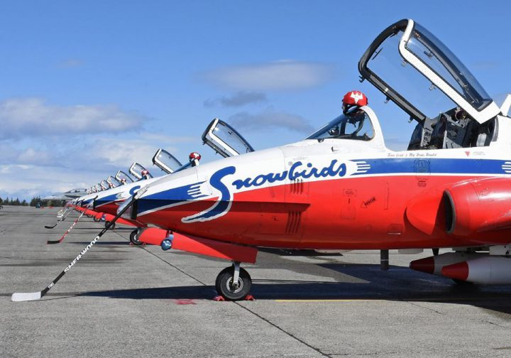 Canadian Forces Snowbirds put hockey sticks in front of their planes at CFB Comox to honour the Humboldt Broncos bus crash victims. Credit: 19 Wing Public Affairs