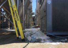 The aftermath of a beer spill at Phillips Brewery in downtown Victoria on May 17, 2018.