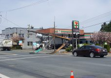 Garbage truck strikes and knocks down hydro pole in Saanich