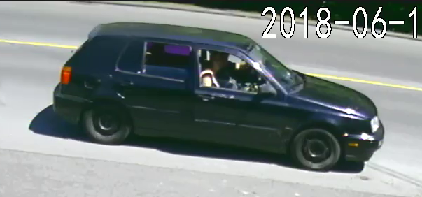 The car used by a suspect male and female in a theft of tools at a home Monday morning in the 1400-block of Waddington Avenue. The male is believed to be responsible for the robberies of three gas stations overnight.
