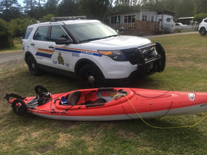 A red kayak was found at Hoskyn Point near Sooke on June 19, 2018.