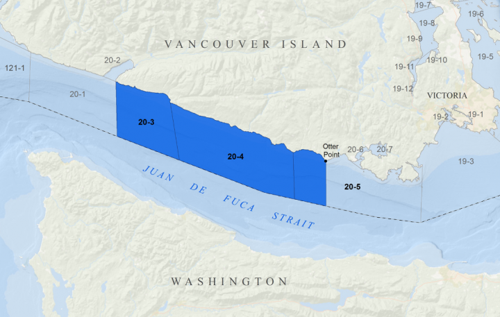 A map of the closed areas in the Juan de Fuca Strait (Fisheries and Oceans Canada)