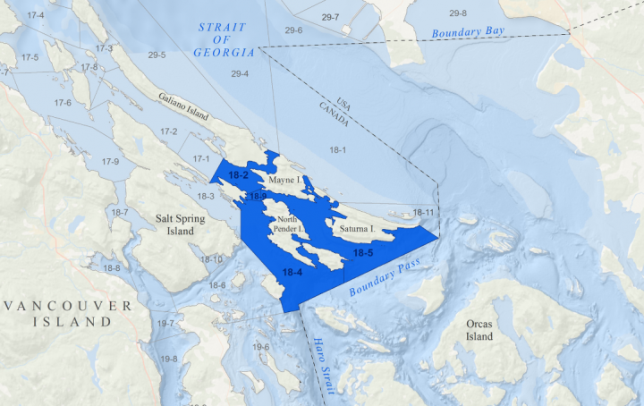 A map of the closed areas in the Gulf Islands (A map of the closed areas in the Juan de Fuca Strait (Fisheries and Oceans Canada)