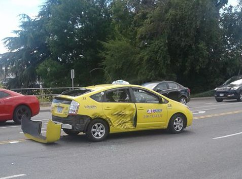 The damaged taxi. Photo courtesy of Lynda