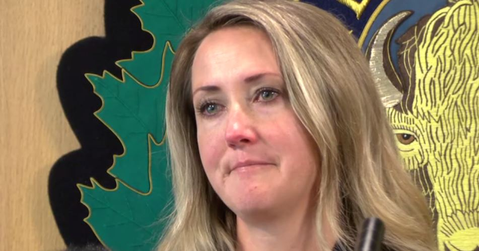 Tonya Kilmer, wife of missing man Ben Kilmer, makes a plea to the public to keep looking for her missing husband at the RCMP Island District on July 6, 2018.