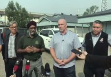Premier John Horgan in Prince George Tuesday, touring wildfire-ravaged areas in central B.C. and meeting with first responders.