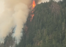 The Gold Valley Main wildfire burns near Zeballos on Aug. 19, 2018. he 2018 wildfire season in British Columbia was the most destructive on record. File photo.