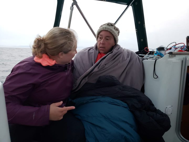 Susan Simmons is treated for hypothermia after being removed from the water in the Strait of Juan de Fuca on Aug. 18, 2018.