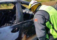 Errington firefighters quickly extinguish car fire on Highway 19 near Parksville