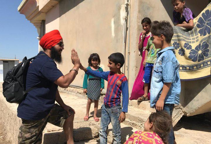 Boota Singh pictured in Iraq on his trip with Khalsa Aid (Photo: Khalsa Aid)