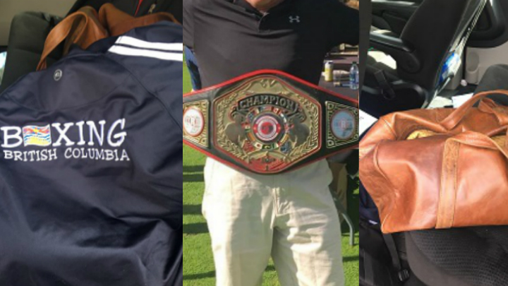 Police say this team jacket, championship belt and brown leather bag were stolen sometime overnight on Sept. 9, 2018. Photo Credit: Nanaimo RCMP.