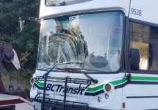 Cyclist suffers non-life threatening injuries after collision with B.C Transit bus in Saanich