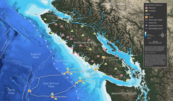 Ocean Networks Canada's Early Earthquake Warning Network Sensor Locations.