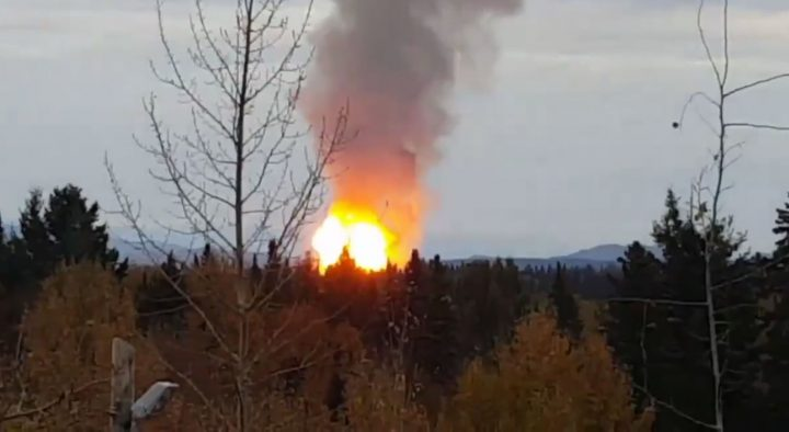 Huge fire following an Enbridge gas line rupture near Prince George Oct.9. Photo courtesy Twitter/Jeff Miller.
