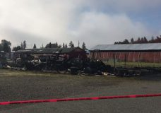 A barn at Beban Park in Nanaimo used by the Vancouver Island Exhibition to store equipment is completely destroyed in an overnight fire.