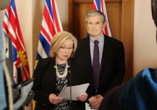 Opposition House Leader Mary Polak and Opposition Leader Andrew Wilkinson spoke to reporters at the B.C. legislature Thursday morning. Polak revealed House Speaker Darryl Plecas tried to appoint his friend and special adviser to temporarily replace a senior official in the legislature in a meeting on Monday. (Tanya Fletcher/CBC)