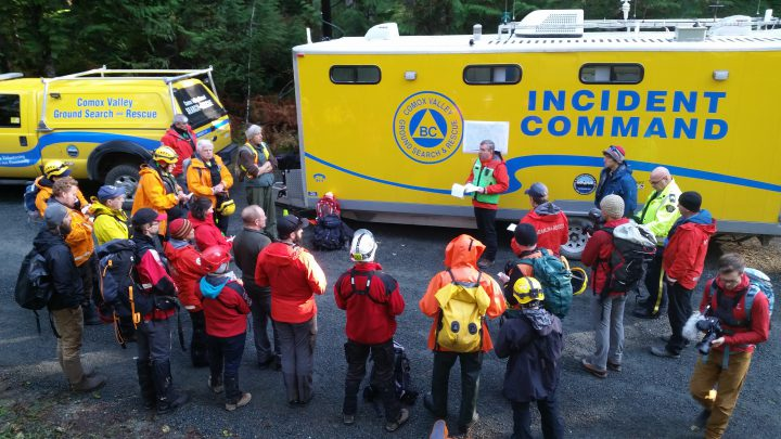 Searchers gather before looking and eventually finding two women who were lost on Quadra Island back in November.