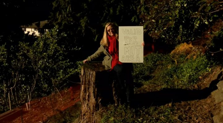 Cynthia Day during her protest against the tree removal in front of her property in Colwood in December 2018. File photo.