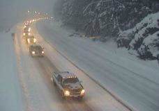 The Malahat Summit looking west, at around 5:40 p.m. (BC HighwayCam/Drive BC).
