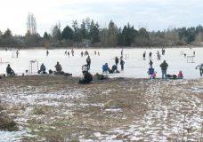 Skaters in Saanich make best of frozen flooded field