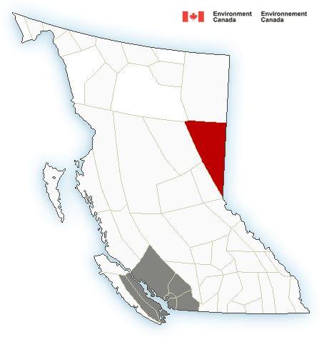 Weather alerts across British Columbia on Feb. 7, 2019.