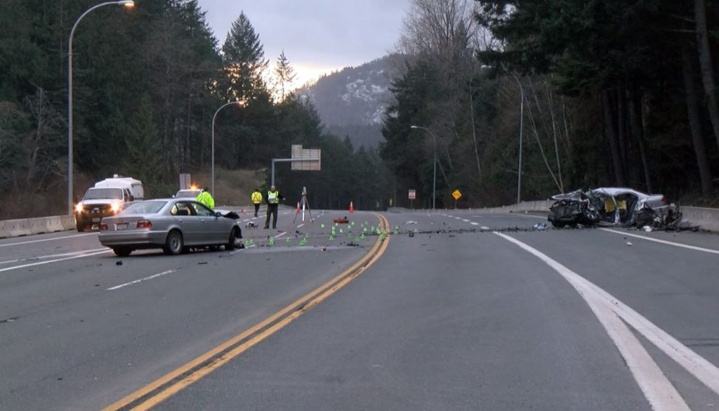 West Shore RCMP confirm Monday morning a 24-year-old man died, while two others have 'significant' injuries following a head-on crash in Langford on Highway 1. Two other people involved in the collision near the Leigh Road overpass did not have serious injuries.