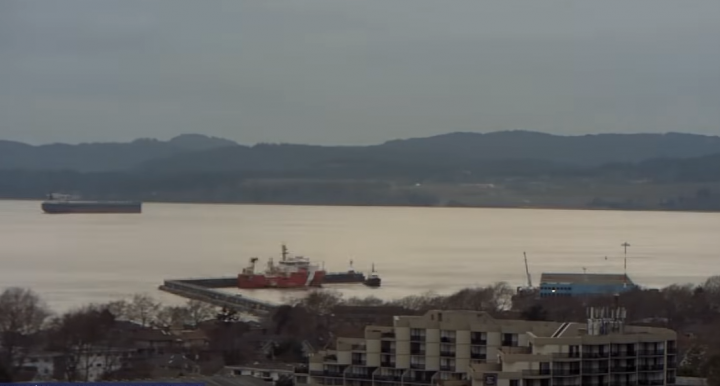 The moment the vessel struck the structure. (Photo: Ogden Point Webcam/Youtube)