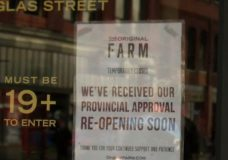A sign at The Original FARM location in downtown Victoria tells customers that the store has received provincial approval and will reopen soon.