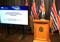 Health Minister Adrian Dix announces a catch-up measles immunization program on March 20, 2019.