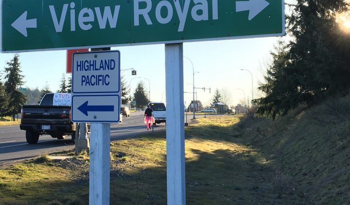 Ryan Thirlwall arrives in View Royal Wednesday morning. He began his walk, dressed in a pink tutu, in Nanaimo Tuesday, and is arriving in Victoria Wednesday. The walk is raising funds for the Boys and Girls Club of Greater Victoria and youth mental health programs.