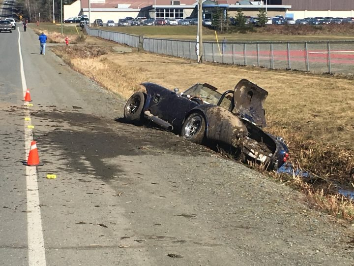 The aftermath of a crash on Vanier Drive in Courtenay on March 18, 2019.