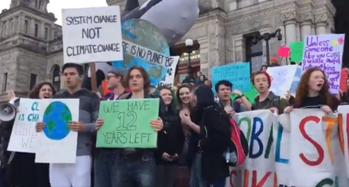 Greater Victoria students join join climate change marches taking place aorund the globe.