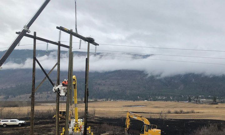 BC Hydro crews work to save an eagles nest that contained a single egg on top of a damaged power pole from a grass fire in the Shuswap Region. Photo courtesy Twitter/BC Hydro.