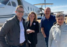 Victoria Mayor Lisa Helps arrives in Bonneyville in eastern Alberta. She took up an offer by Calgary Council to tour oilsands in the province. Photo courtesy Canada Action.