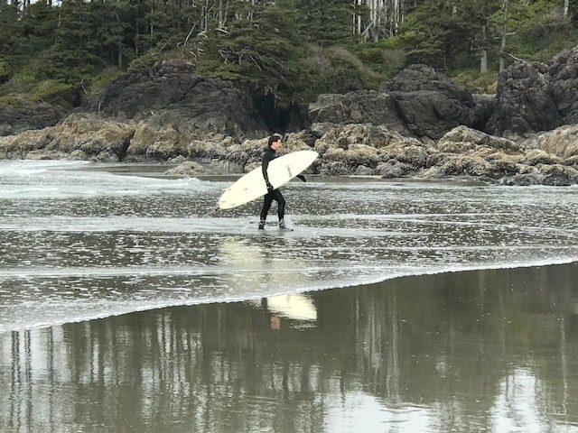 Trudeau leaving the water after surfing (Photo: Lynn Meyers)