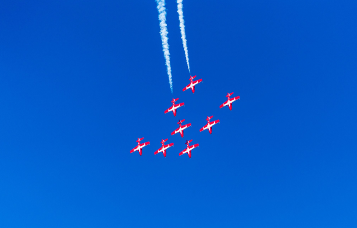 The Royal Canadian Air Force's Snowbirds flying over Comox Saturday (Photo: PAF Photography)