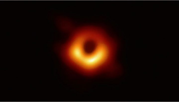 This is the first image ever taken of the event horizon of a supermassive black hole, captured by the Event Horizon Telescope in 2017. Photo courtesy CBC/Event Horizon Telescope.