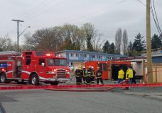 Nanaimo firefighters respond to a fire at a supportive housing complex on Terminal Avenue on April 8, 2019.