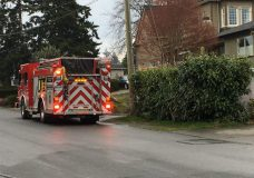 Saanich fire attending a shed fire that started in the 700-block of Gorge Road West, and spread through a fence to a neighbouring shed on Adelaide Avenue.