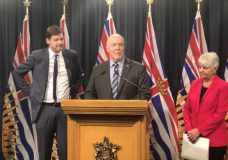 B.C. Premier John Horgan, along with Attorney General David Eby and Finance Minister Carole James, announcing a public inquiry will be held into money laundering in the province.