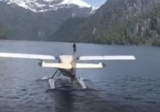 This otter float plane operated by Taquan Air, filmed Friday, was involved in a midair crash with another sightseeing plane in Alaska. Photo courtesy NBC/Gregory Schmauss.