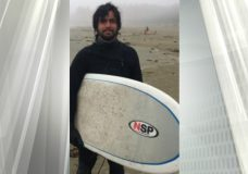 Twenty-nine-year-old Jonah Mayhue was last seen entering the water near Port Renfrew with his surfboard. The same board in this photo has been found by police (Photo: Sooke RCMP)